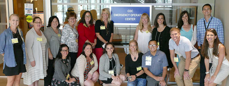 Group picture of Science Ambassador fellows visiting CDC Emergency Operations Center