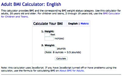 This calculator provides BMI and the corresponding BMI weight status category.