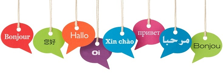 speech balloons with different languages on them