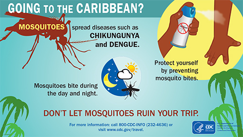 Poster:  Were you recently in the Caribbean?  Mosquitoes spread Chikungunya and Dengue.  Watch for fever with joint pains or rash in the next 2 weeks.  If you are sick, see a doctor.
