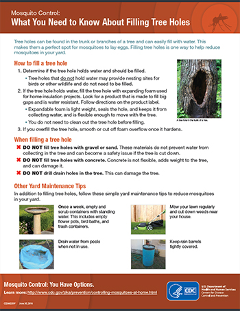 Mosquito Control: What You Need to Know About Filling Tree Holes fact sheet thumbnail