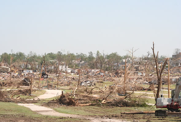 A neighborhood destroyed by a tornado