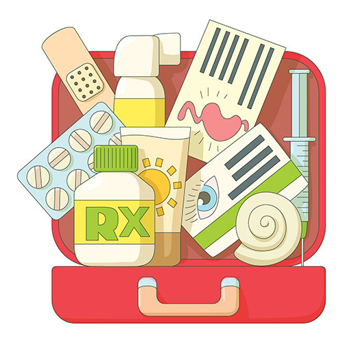An illustration of an emergency kit