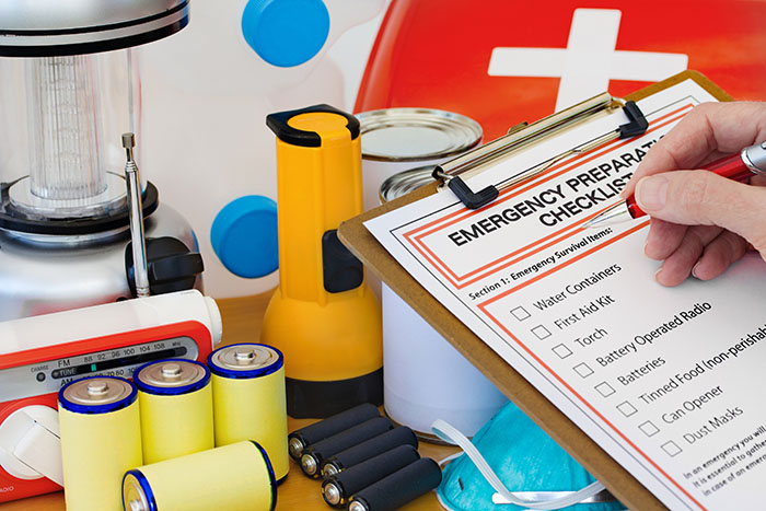 Completing and emergency preparation list and kit