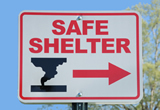 Photo of tornado shelter sign.