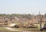 A neighborhood destroyed by a tornado.
