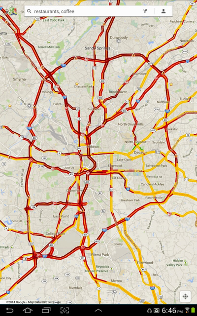 Map showing traffic on Atlanta roads durin a snowstorm
