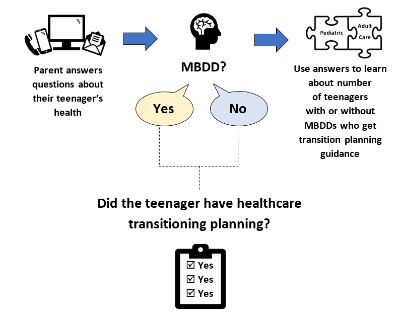 Illustration: Parent answers questions about their teenager's health. Does the child have MBDD? Yes or No. Did the teenager have healthcare transitioning planning?  Use answers to learn about number of teenagers with or without MBDDs who get transition planning guidance.