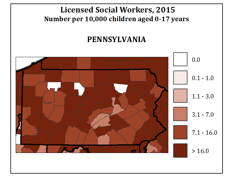 Licensed Social Workers, 2015 Number per 10,000 children aged 0-17 years