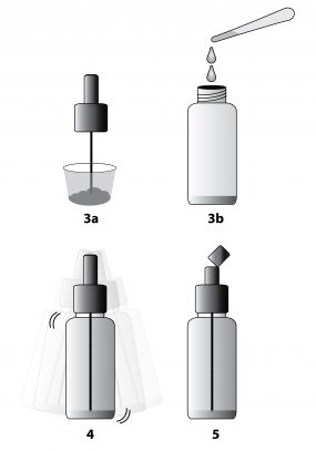 diagram showing how to use the bottles.