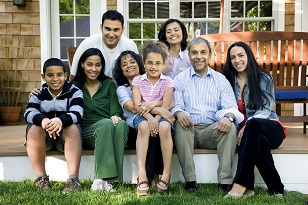 A large hispanic family.