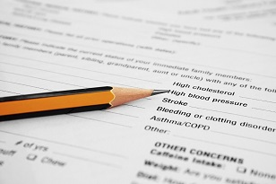 A medical questionnaire form.