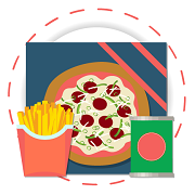 pizza, fries and canned food