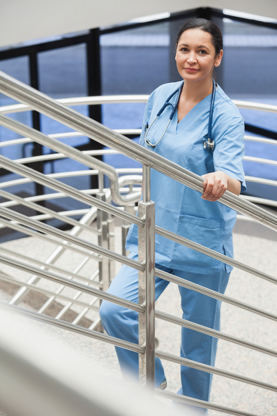 nurse walking up stairs