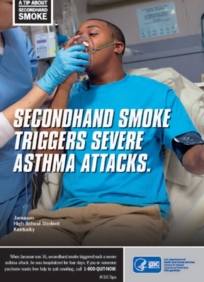 secondhand smoke triggers asthma attacks poster.