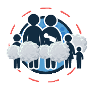 family with children standing in a cloud of cigarette smoke