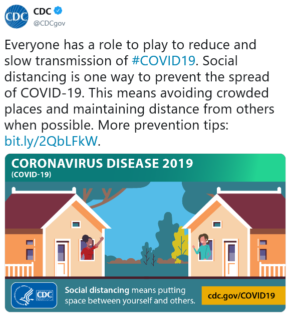 Everyone has a role to play to reduce and slow transmission of #COVID19. Social distancing is one way to prevent spread of COVID-19. This means avoiding crowded places and maintaining distance from others when possible. More prevention tips: bit.ly/2QbLFkW.