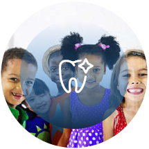 group of children sitting and smiling with tooth icon