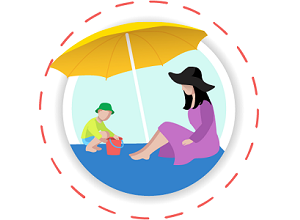 mother and child under beach umbrella