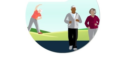 older adults exercising outside
