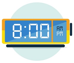 alarm clock with time of 8PM