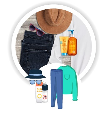 hat, sun glasses, pants, long-sleeve shirt, bug spray and sunscreen