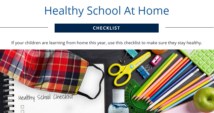 Healthy School At Home infographic