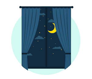 bedroom window at night time