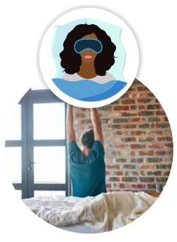 woman wearing sleep mask, man sitting on bed and stretching