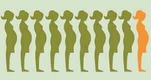 silhouettes of ten pregnant women