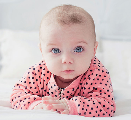 Baby with bright eyes.