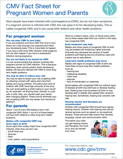 CMV Fact Sheet for Pregnant Women and Parents.