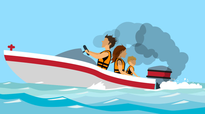 illustration of a family in a motorboat. The boat is moving forward, and the motor's exhaust is also moving forward (backdrafting) over the family.