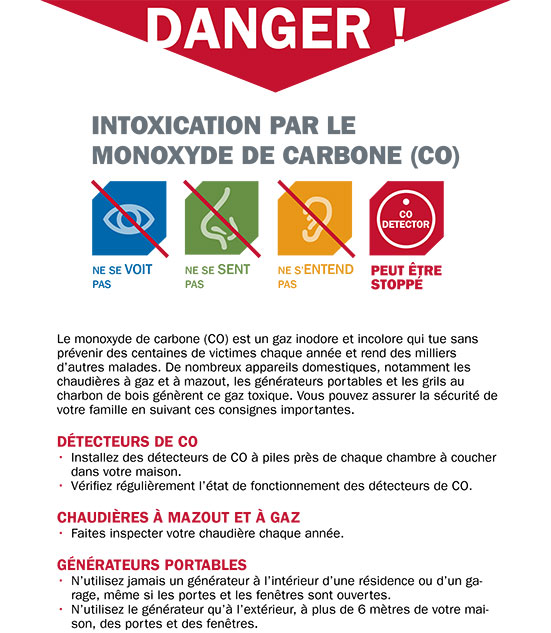Carbon Monoxide Warning Flyer French