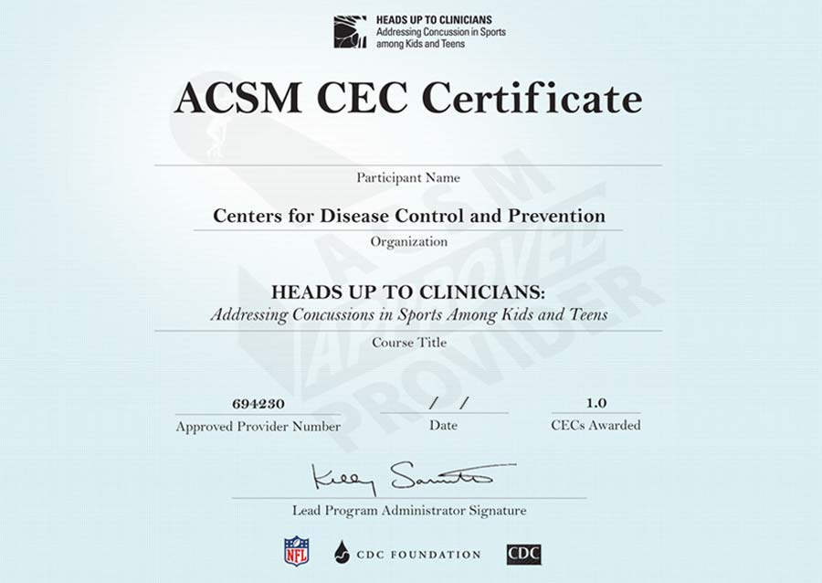 Customize and Print Your Heads Up Clinicians Training Certificate
