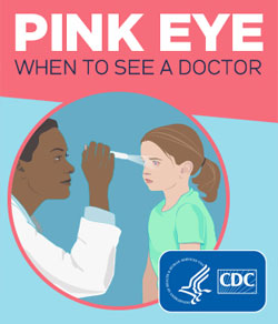 graphic of doctor examining child's eye for Pink Eye, conjunctivitis