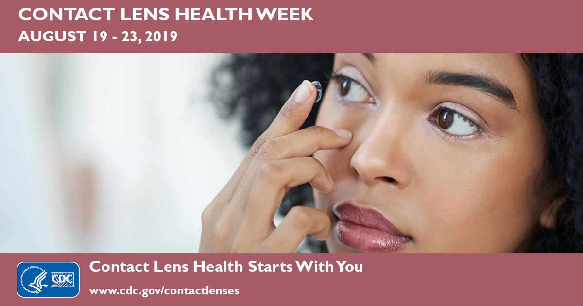 Contact Lens Health Week is August 19-23. 2019. Image of a woman putting in a contact lens.