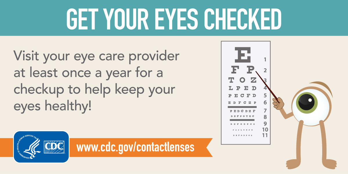 Get your eyes checked! Visit your eye care provider at least once a year to help keep your eyes healthy! Intended for Twitter.