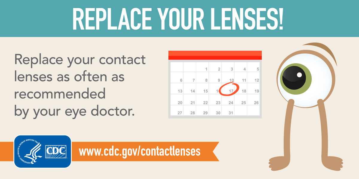 Replace Your Lenses! Replace your contact lenses as often as recommended by your eye doctor. Intended for Twitter.