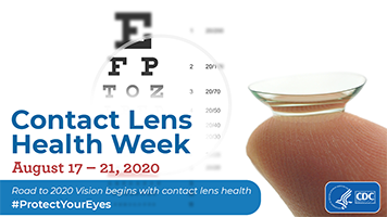 Image of a finger holder a contact lens for Contact Lens Health Week August 17, 2020