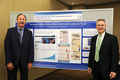 CDC Contact Lenses Workgroup members Rick Weisbarth, OD, and Tim Steinemann, MD, at the Contact Lens Association of Ophthalmologists 2014 Global Symposium.
