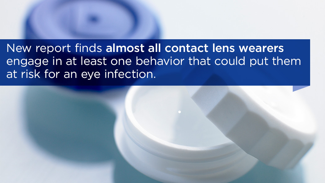 New report finds that almost all contact lens wearers engage in at least one behavior that could put them at risk for an eye infection