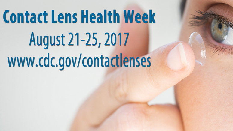 Contact Lens Health Week 2017. Woman with contact lens on fingertip close to her eye