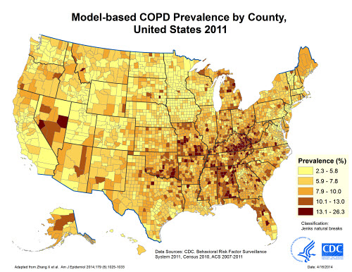 "Map displaying model-based prevalence of chronic obstructive pulmonary disease (COPD), by county in the United States, 2011. Data sources for development of model included CDC's Behavioral Risk Factor Surveillance System (2011), the U.S. Census (2010), and the American Community Survey (2007-2011). COPD was defined as a positive response to the BRFSS question, ""Have you ever been told by a doctor or health professional that you have COPD, emphysema, or chronic bronchitis?"" County COPD prevalence estimates ranged from 2.3% to 26.3%"