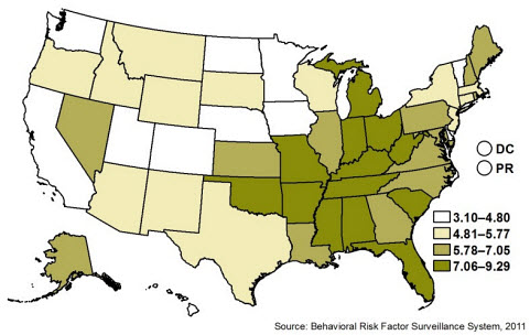 Behavioral Risk Factor Surveillance System 2011 prevalence data showing percentage of adult population by state or territory that reported ever being told by a physician or health professional that they had chronic obstructive pulmonary disease (COPD), chronic bronchitis, or emphysema