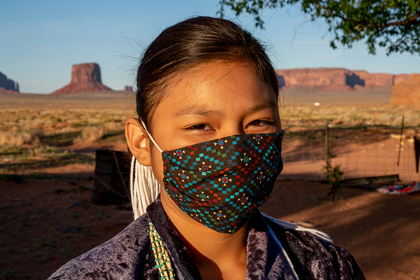 Navajo Girl wearing protective mask