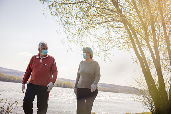 older adults walking outside with protective masks
