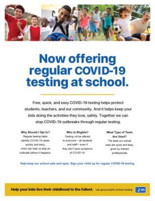 Volante de la campaña de los CDC de realización de pruebas de detección del COVID-19 en las escuelas