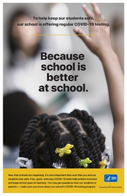 Afiche de la campaña de los CDC de realización de pruebas de detección del COVID-19 en las escuelas