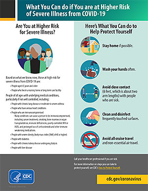 What You Can do if You are at Higher Risk of Severe Illness from COVID-19